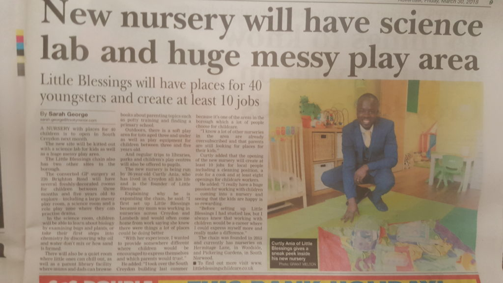 Little Blessings South Croydon Nursery Newspaper Article
